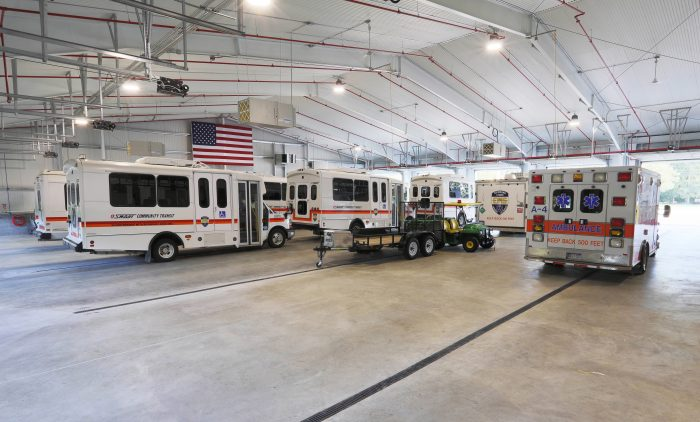 Richmond Lenox EMS/SMART Facility.  Inside the large vehicle garage.
