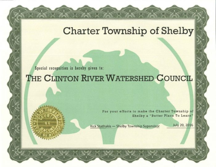 Clinton River Watershed Council; Shelby Township; AEW, Awards