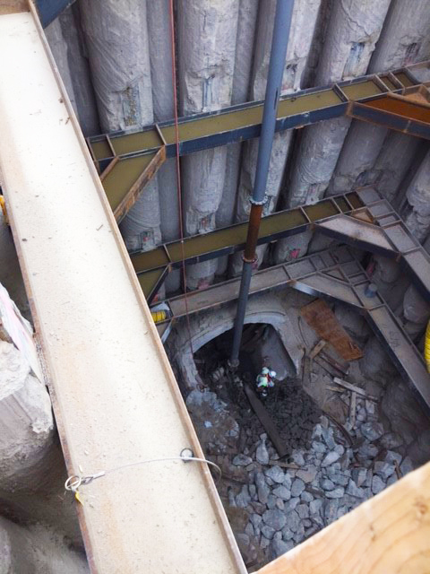 View down into the 60 foot deep construction shaft.