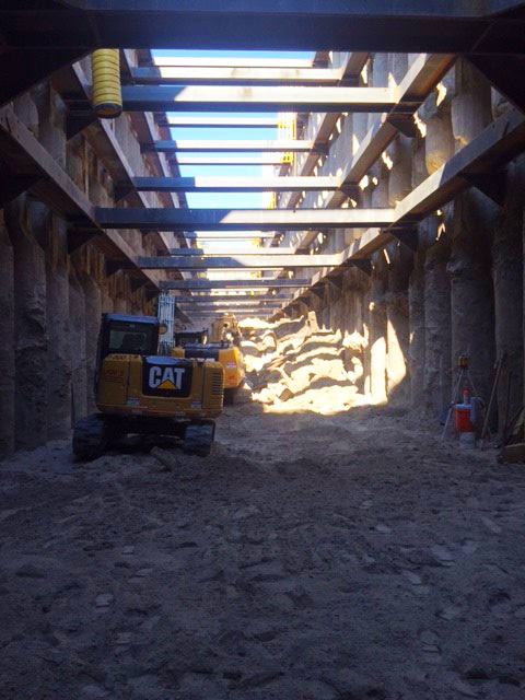 Excavation continues on the western end of the 300-foot long recovery shaft.