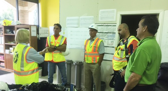 Prior to visiting the recovery shaft Commissioner Miller and Executive Hackel received a progress update from AEW President & CEO Roy Rose, County Wastewater Engineer Evans Bantios, and FKE Engineering President Fritz Klinger at AEW's 15 Mile Fraser Field Office.
