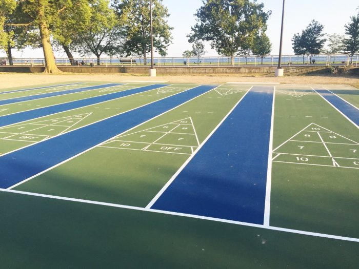 The old shuffleboard courts were removed and replaced with new state-of-the-art courts.