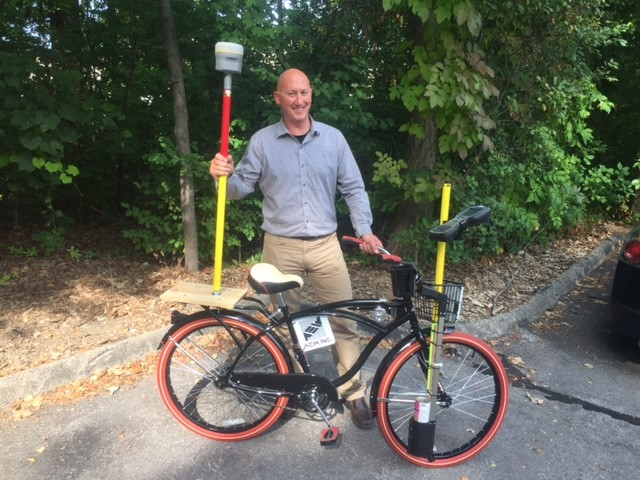 "A first for AEW, specially modified bicycles to assist our Survey Crews in the field. The ""Surveycycle"" was the brainchild of Mike Truax, AEW's Survey Manager, and he and his team worked to outfit the bikes with all the necessary professional equipment."