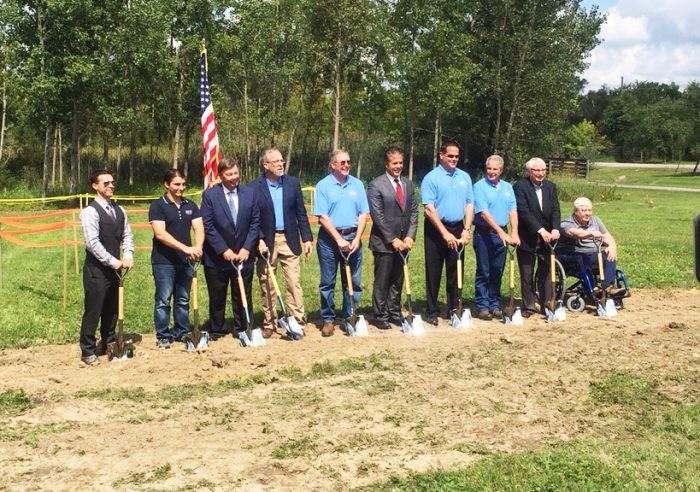 Officials and representatives from the service branches were on hand for the August 30 official ground breaking ceremonies for the new Veterans Tribute.