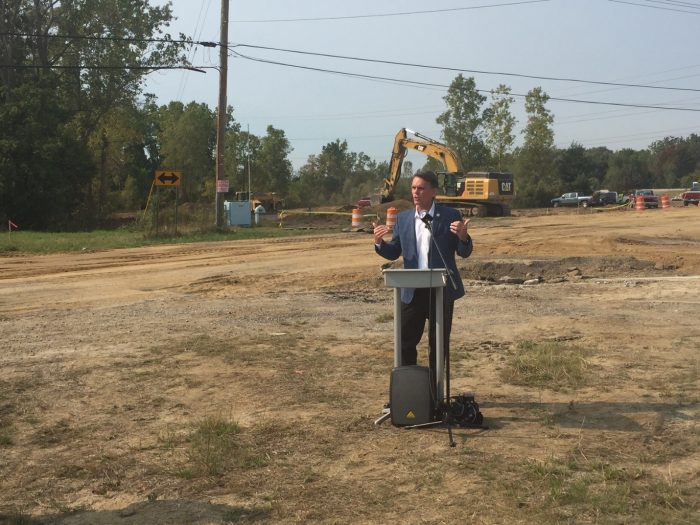 Macomb County Executive Mark Hackel addressed the officials and principals assembled for the Ground Breaking for this important new exit ramp.
