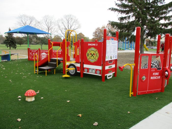 "The ""Fraser Fire Truck"" will be a sure-fire hit with park visitors, and the city's Paid-on-Call Firefighters are especially proud of the ""truck."" They led the way with fundraising efforts for the truck and also helped to construct the playscape."
