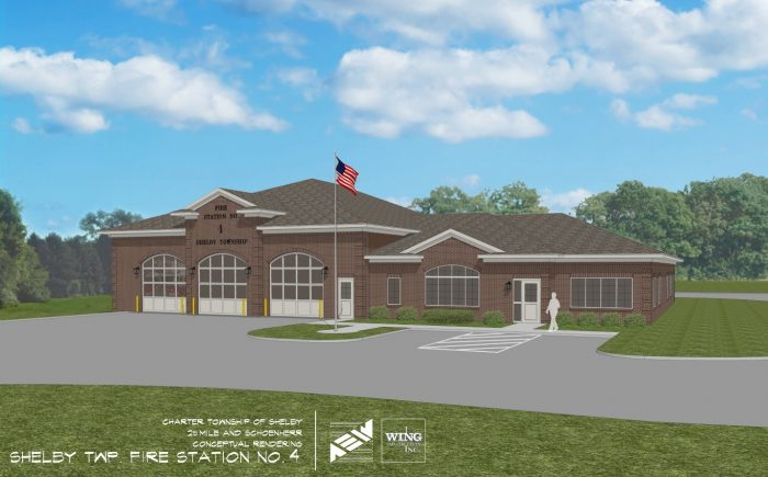 A conceptual rendering of the new three-bay, 8,000 sq. ft. station that will be built at the northwest corner of 25 Mile and Schoenherr in Shelby Township.