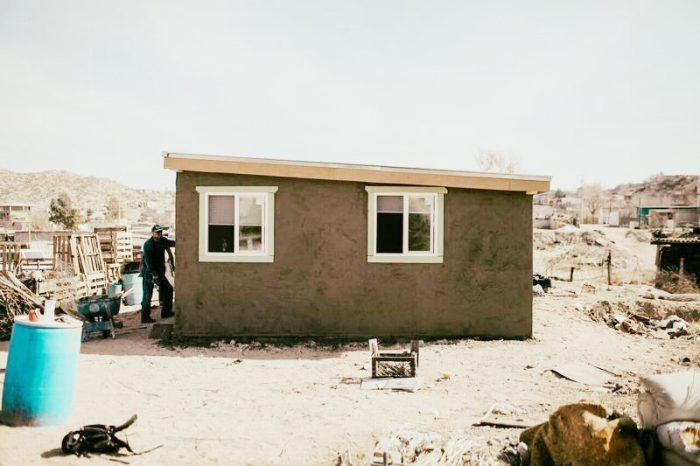Side view of new home constructed by the Faith Lutheran Church volunteers.
