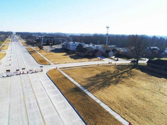 aerial of 15 Mile Road repaired and repaved