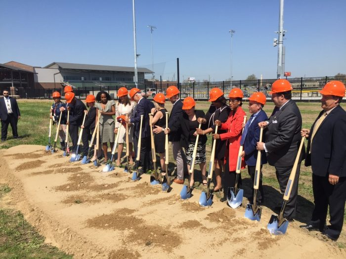 "Groundbreaking ceremonies were held for long-awaited ""The Corner"" project on May 8. Note the distinctive custom-made shovels with baseball bat handles made especially for the event."