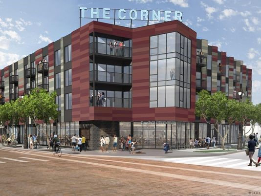 "Rendering of the market at ""The Corner,"" a $30-million mixed-use project that will fill in the final piece of the old Tiger Stadium site in Detroit. (Photo: Rossetti)"