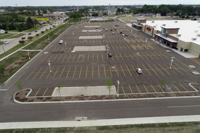 The new 656 space parking lot was constructed with sustainability at the forefront.
