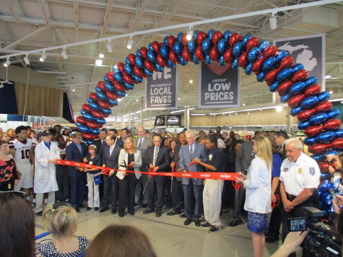 grand opening ribbon cutting was attended by city, county, state and Meijer officials, and AEW representatives. Warren Mayor Jim Fouts, Lt. Gov. Brian Calley, and Meijer CEO Hank Meijer were among the official ribbon cutters.