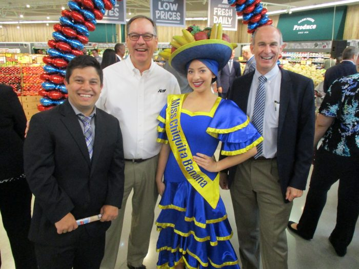 Juli, Lyle, and Steve enjoying a fun photo op with Miss Chiquita Banana!