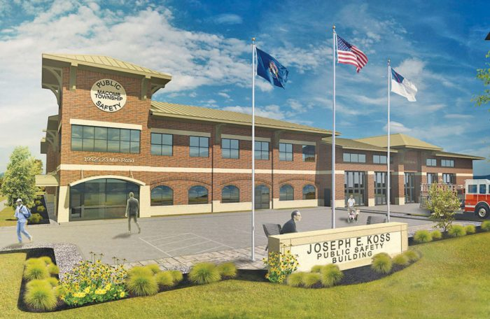Rendering of future Joseph Koss Public Safety Building Macomb Township