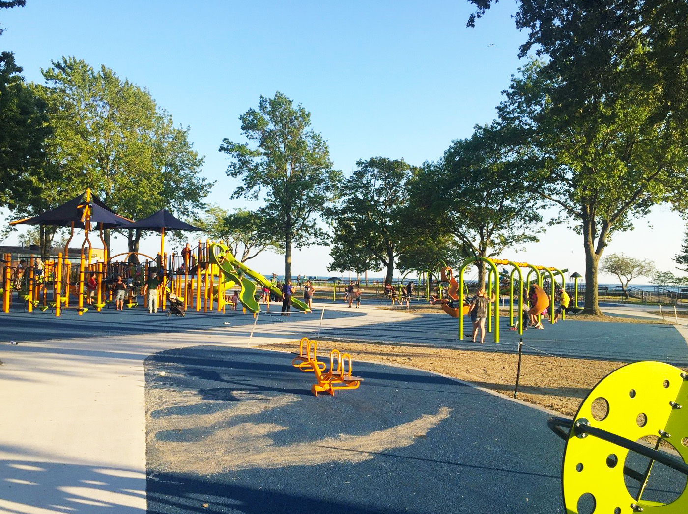 With Lake St. Clair in the background, the new playscape offers visual as well as physical enjoyment.